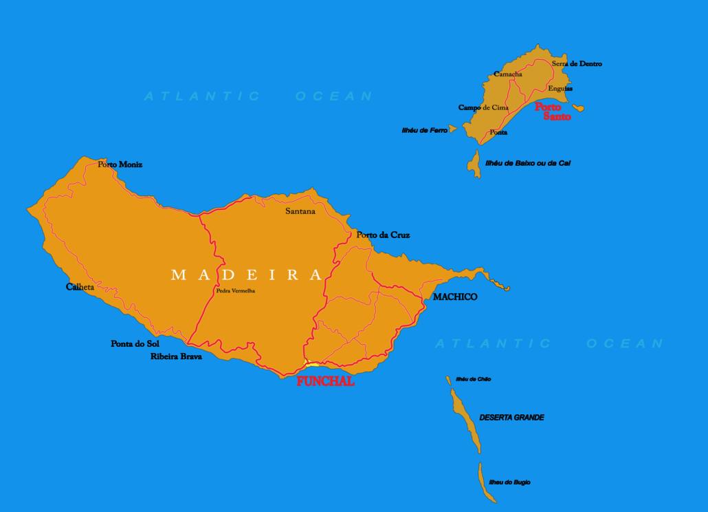 Carte de l'archipel de Madère